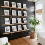 4 shelves with 4, 8x10 photo frames on each shelve, gallery wall is complete