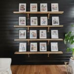 gallery wall complete with 16, 8x10 frames on the shelves