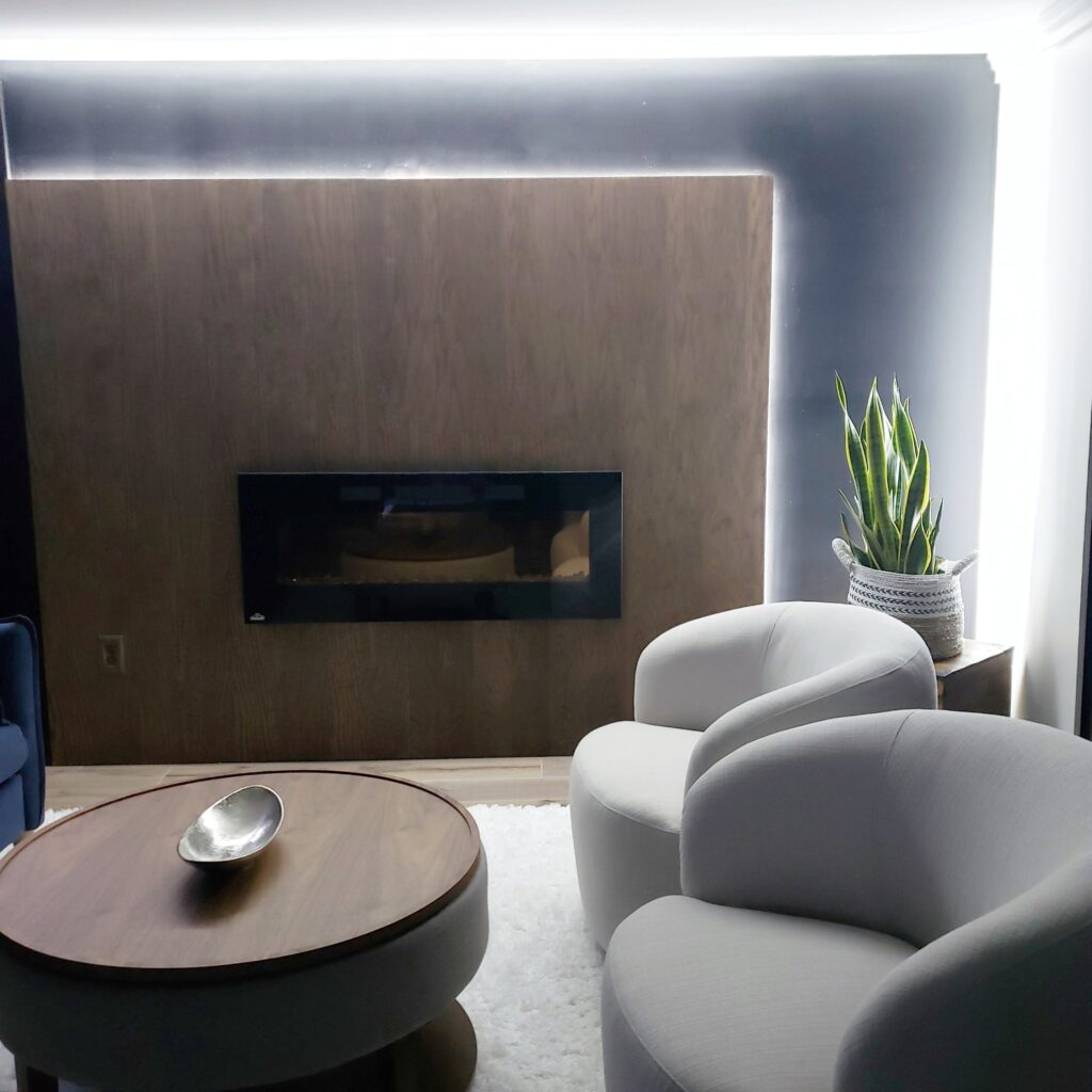 fireplace wood wall feature with strip lighting